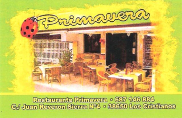 Restaurant Primavera Visitenkarte