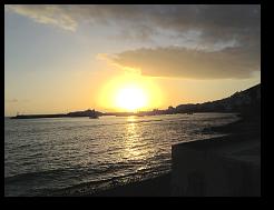 Sonnenuntergang in der Bucht von Los Cristianos / Teneriffa.
